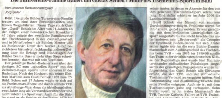 TV Bühl trauert um Gustav Schiek